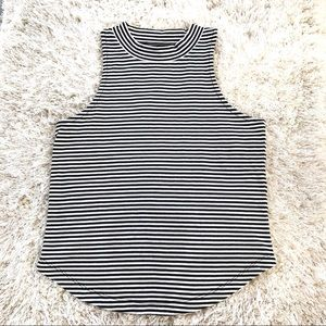 Madewell Black and White Striped Crop Top Tank